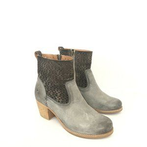 H.S. Trask Gray Leather Perforated Shaft Bootie